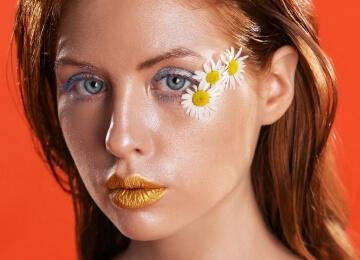 фотосессия девушки макияж с цветами
