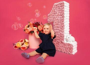 Фотосессия на годик в розовом
